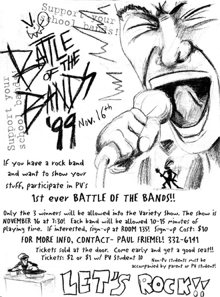 1999 PVHS battle of the bands flier 2nd Best